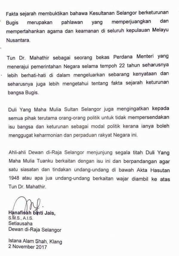 Sultan Selangor Murka Mahathir Hina Bugis