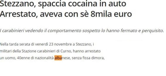 Cocaine and 8,000 euros cash in the car; Albanian arrested in Italy