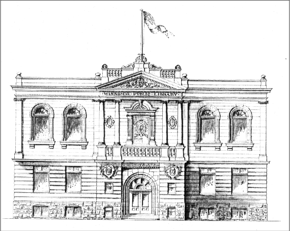 Architect S. Hooper's sketch of the William Avenue facade of the Carnegie Library. Image courtesy of the City of Winnipeg Historical Report.