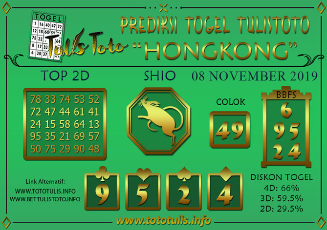 Prediksi Togel HONGKONG TULISTOTO 08 NOVEMBER 2019