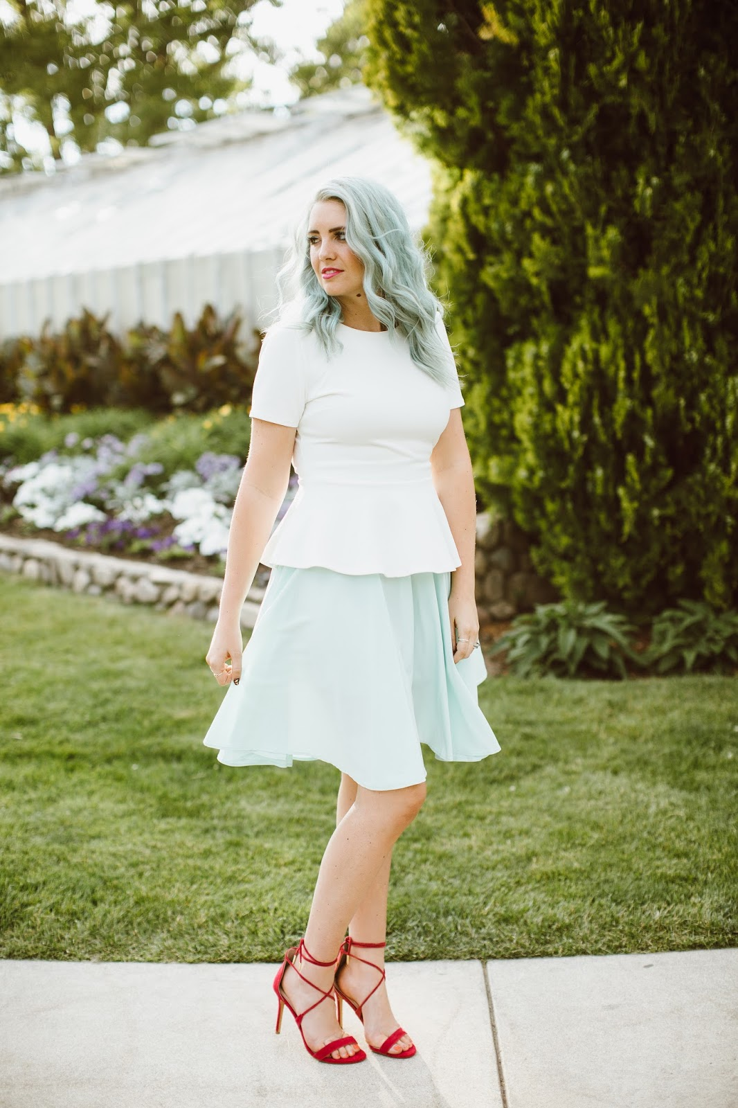 Peplum, Utah Fashion Blogger, Mint Hair