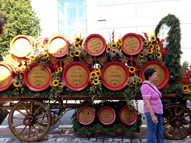Bavarian town Germany, decorated beer barrels