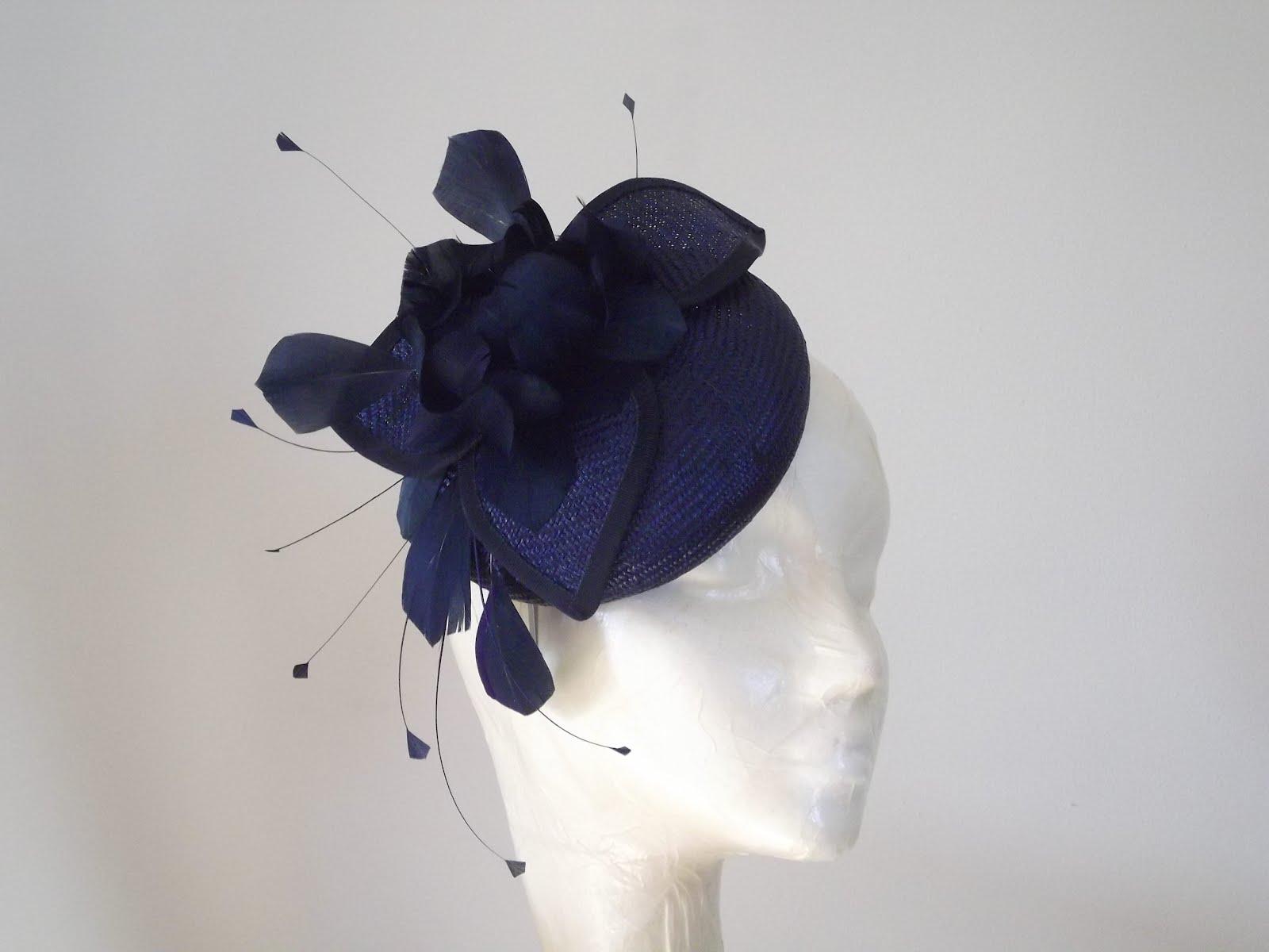 Hat Dispatch - Customer Order. This Navy   Mixed Blue Straw Pill Box Hat  Fascinator ... b9849007613