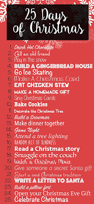 http://moneysavingsisters.com/25-days-of-christmas-activities-for-the-entire-family/