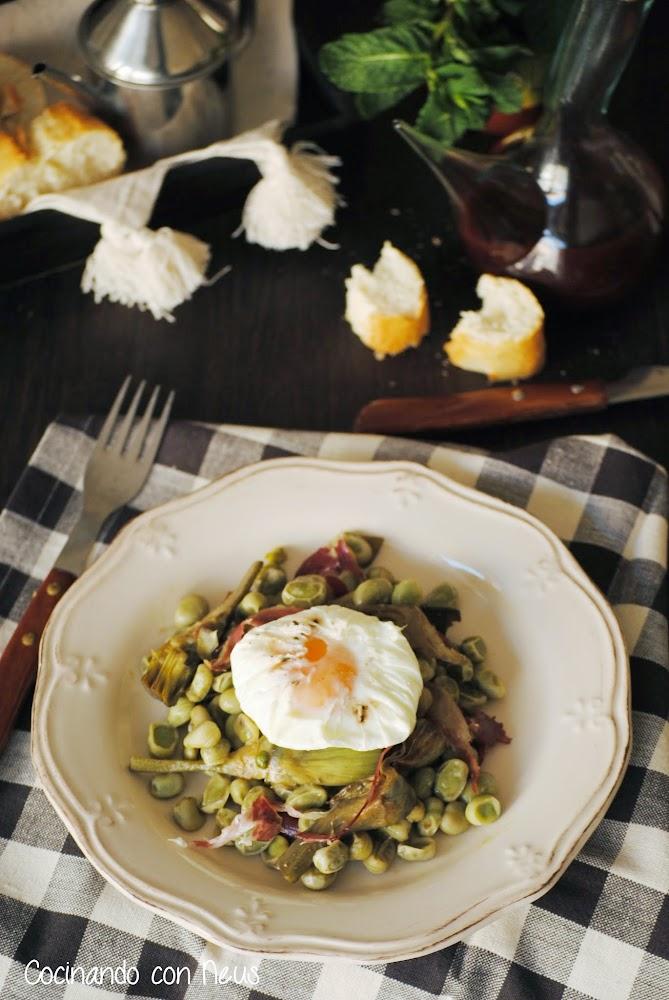 Cocinando con neus habas con alcachofas huevo poch y for Cocinando 1000 huevos