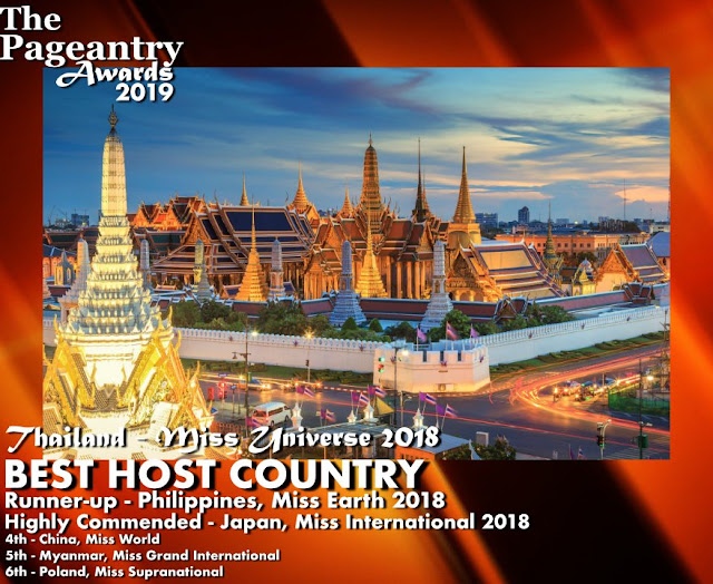 Pageantry Awards 2019 Thailand for Miss Universe 2018 Wins Best Host Country