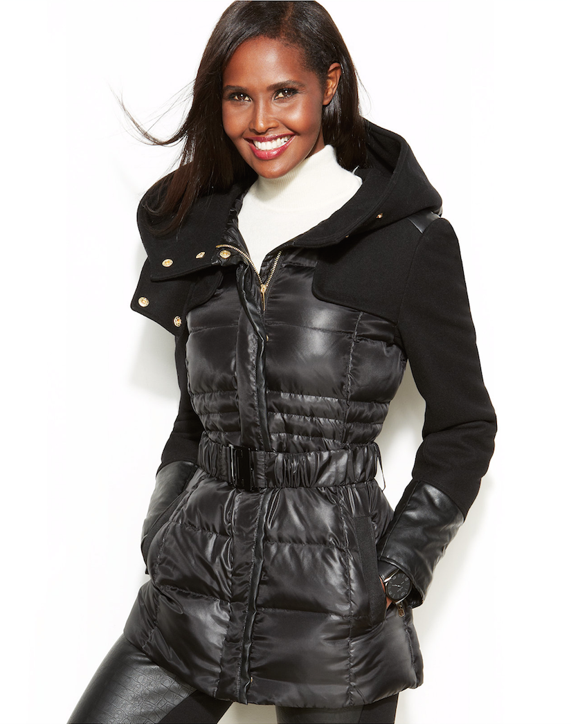 Kenneth Cole Reaction Mixed Media Hooded Down Puffer Jacket