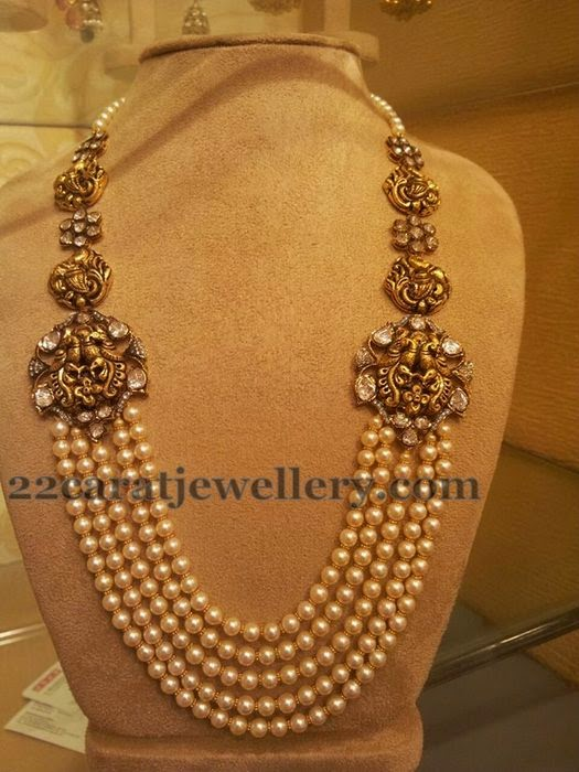 Pearls Mala with Antique Motifs  Jewellery Designs