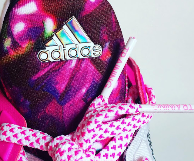 Adidas Boost Floral Pink Trainer, for Gym Training, with Metallic Logo