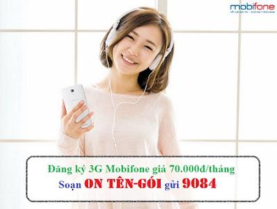 Các gói cước 3G Mobifone 70k/tháng