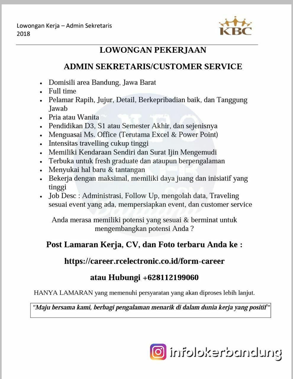 Lowongan Kerja Admin Sekretaris CV. RC Electronic Bandung Maret 2018