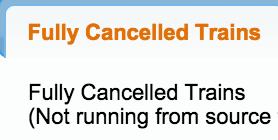 Cancelled Trains List