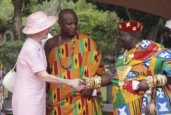 Queen Margrethe welcomed by President of Ghana, Nana Addo Dankwa Akufo-Addo at the Flagstaff House