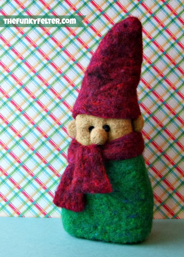 Handmade Needle Felted Wool Elf for Christmas