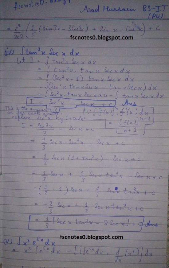 FSc ICS Notes Math Part 2 Chapter 3 Integration Exercise 3.4 Question 2 & 3 by Asad Hussain 2