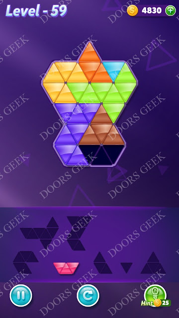Block! Triangle Puzzle Advanced Level 59 Solution, Cheats, Walkthrough for Android, iPhone, iPad and iPod