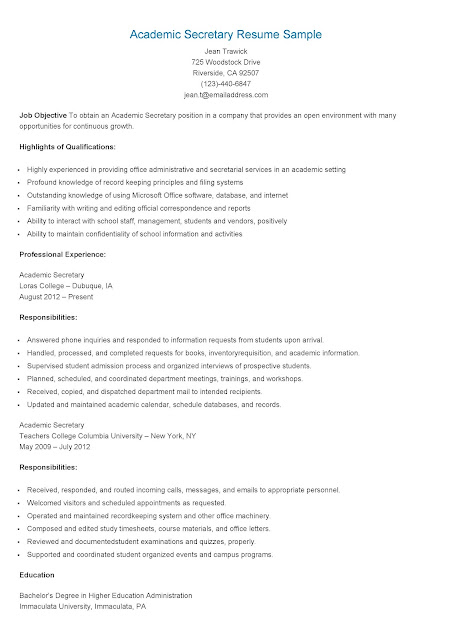 resume samples academic secretary resume sample
