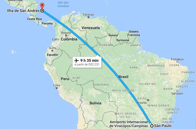 Tempo de avião até San Andrés
