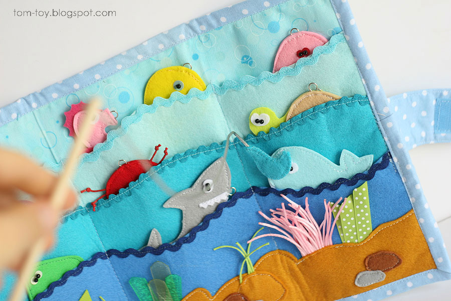 Magnetic fishing playmat game with sea creatures and fishing pole, handmade