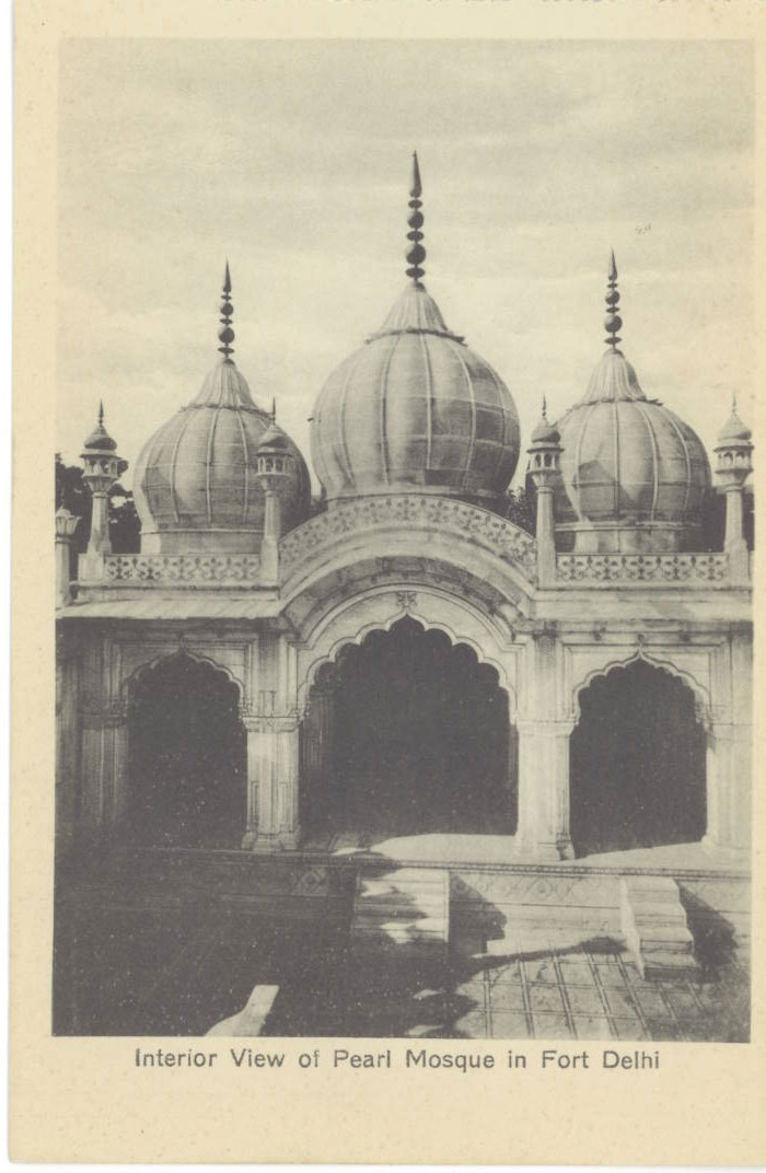 Interior View of Pearl Mosque (Moti Masjid) in Red Fort Delhi Built by Emperor Shahjahan in 1648