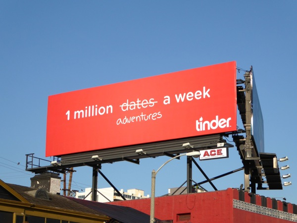 1 million dates adventures a week Tinder billboard