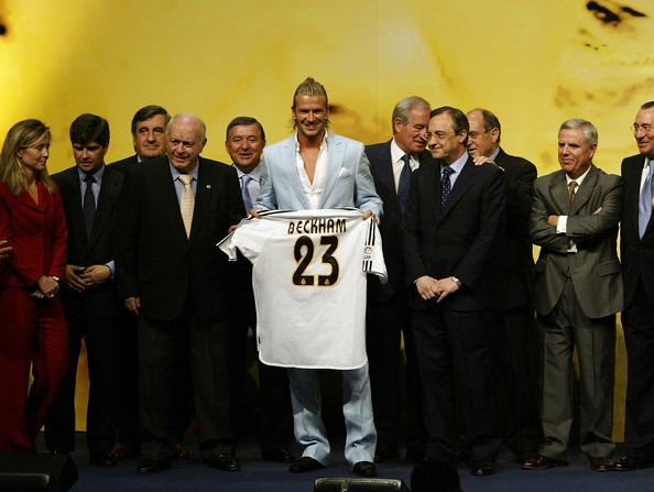 David Beckham is presented to the press at the Real Madrid press conference announcing his signing to Real Madrid on July 2, 2003 at the Pabellon Raimundo Saporta, in Madrid, Spain