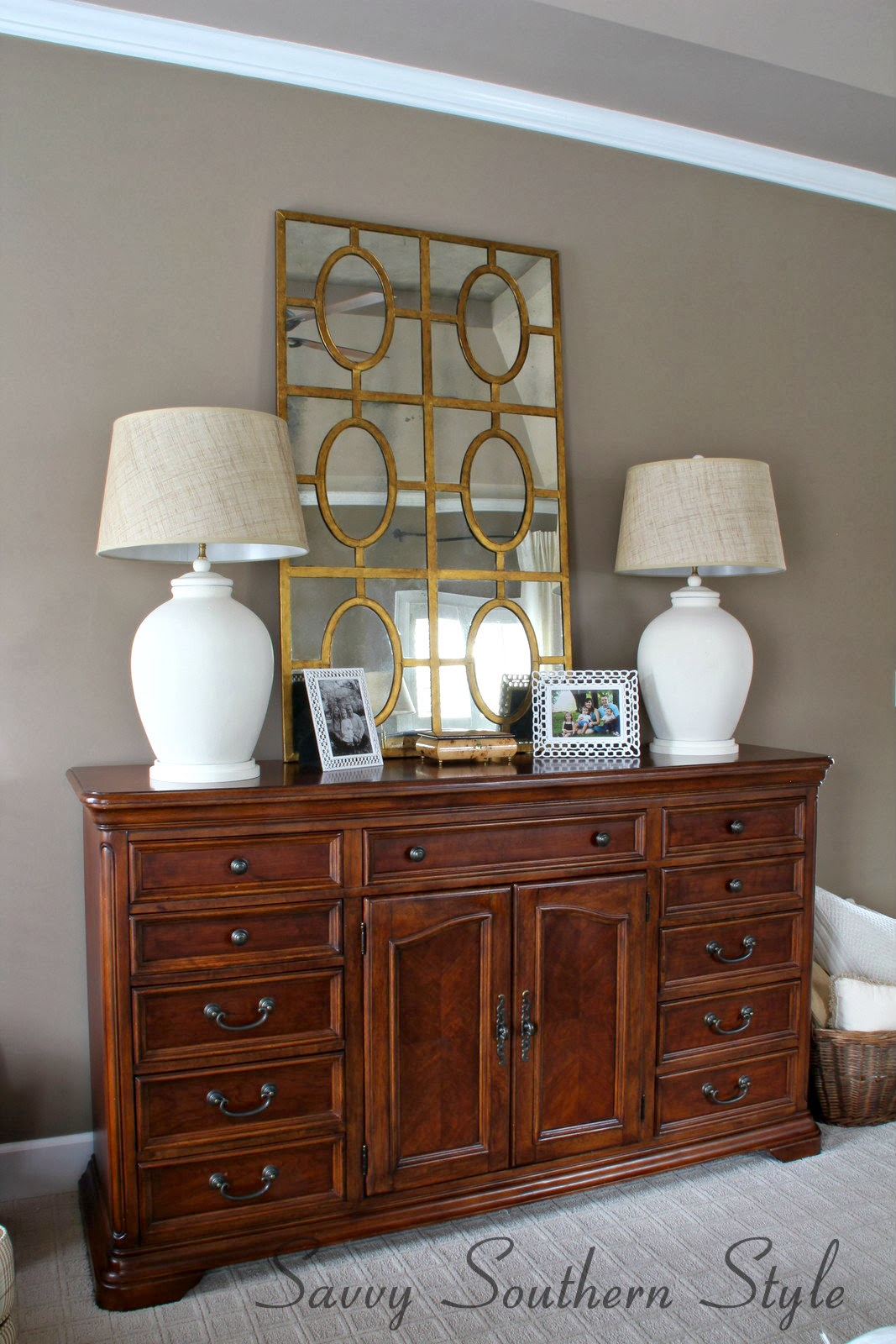 Savvy Southern Style Master Bedroom Mirror Switch
