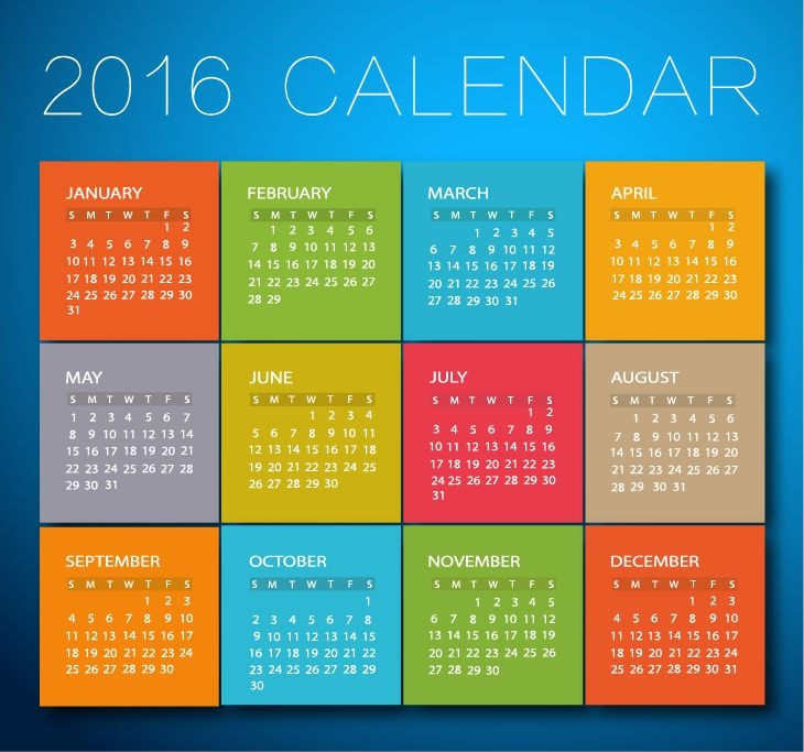 2016 Calendar with Low Poly Vector Illustration. Calendar 2016 Year Colorful Design Vector Illustration 2016 Calendar Vector Illustration.