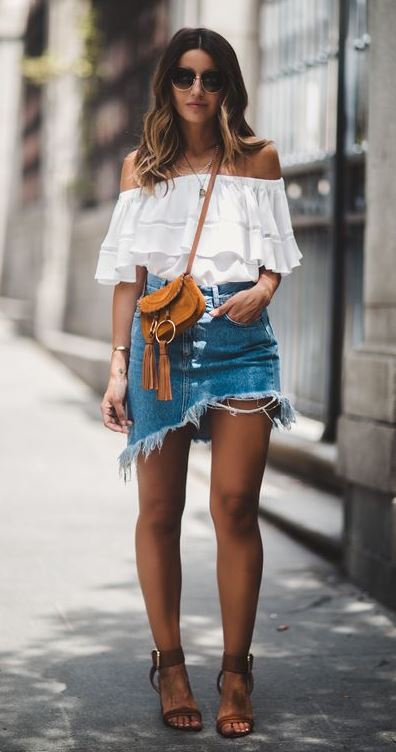 amazing outfit idea / white off shoulder top + bag + sandals + skirt