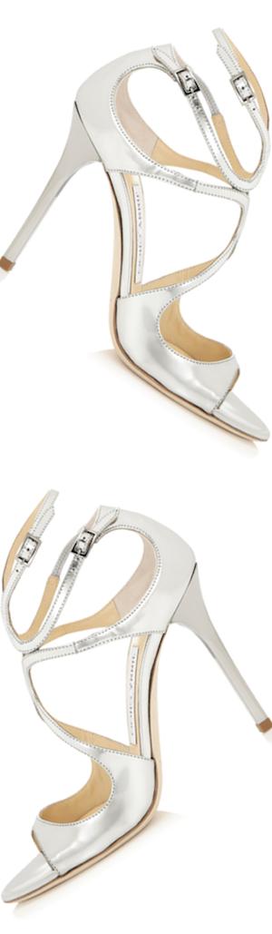 Jimmy Choo Lang Metallic Strappy Sandal, Silver