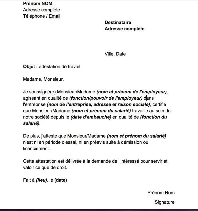 Mod 232 Les D Attestations De Travail Word Doc Et Images