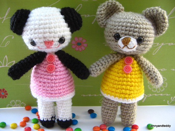 free amigurumi teddy bear and panda by jennyandteddy.com