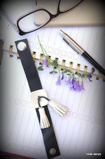 LoveLea's navy leather bracelet,  white vintage button& leather tassels
