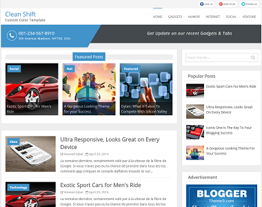 Clean Shift is a premium looking simple blogger template with auto post slider.
