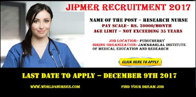 JIPMER Puducherry Research Nurse Vacancy  2017