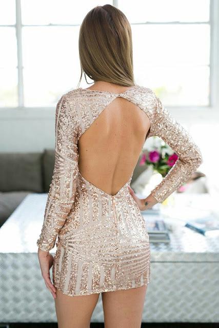 Rose Golden sequins back V shaped bodycon