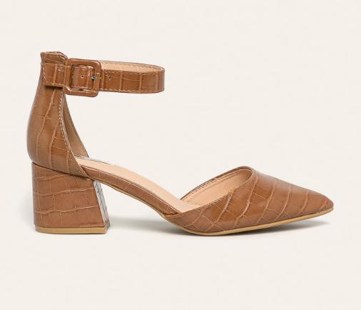 Sandale dama maro cu toc gros de zi moderne cu imprimeu de reptila