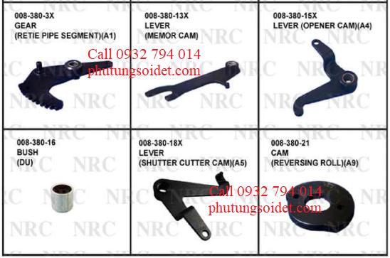 Lever (Opener cam)(A4) 008-380-15X Bush(Du) 008-380-16 Lever (Shutter cutter cam)(A5) 008-380-18X Cam (Reversing roll)(A9) 008-380-21 Cam (Menory)(A6) 008-380-24 Cam (Ritie pipe)008-380-30X