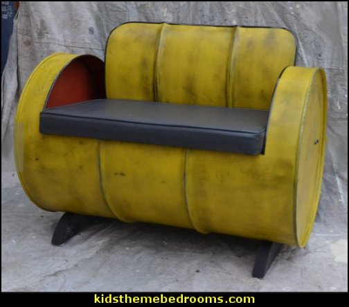 Industrial Furniture Barrel Chair Distressed Yellow   Urban bedroom ideas - urban bedroom decor - urban bedrooms - Urban bedding - city theme bedrooms - New York City bedding - city decor - industrial furniture - city streets bedding - New York cabs - city living urban chic decorating ideas - Urban skater theme - Urban style decorating skateboarding theme - graffiti themed skater park - punk grunge bedrooms - graffiti bedroom decorating