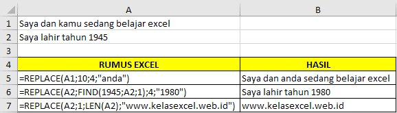 Contoh Fungsi REPLACE Microsoft Excel