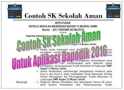 """Download Contoh SK """"Sekolah Aman"""" Untuk Aplikasi Dapodik New Update 2016/2017"""