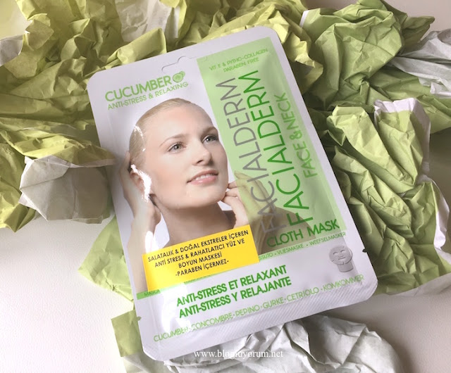 facialderm cucumber anti stress relaxing face and neck maske