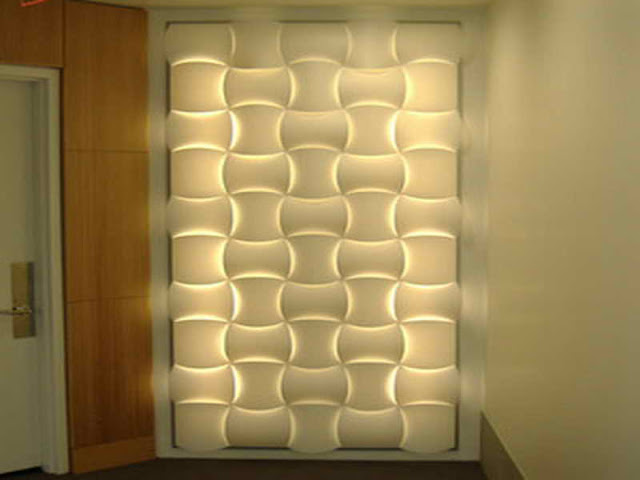 wall decor ideas- decorative 3d panels with LED lights