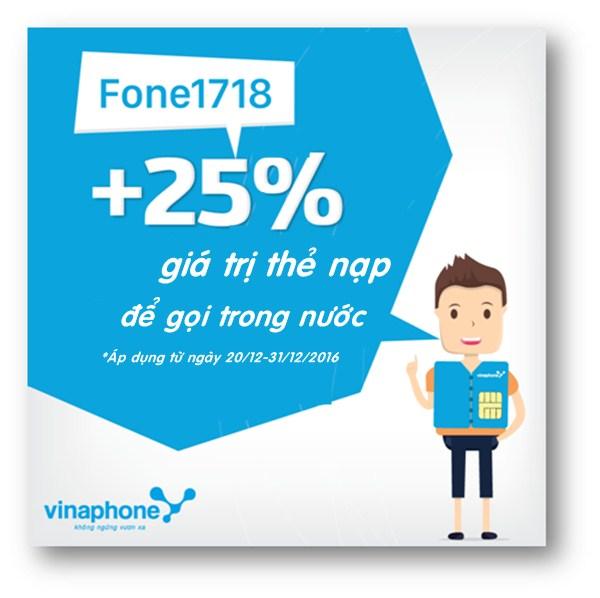 Vinaphone tặng thêm giá trị thẻ nạp khi nạp tiền với dịch vụ Fone1718