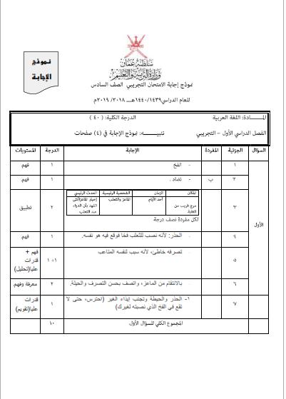 الاختبار التجريبي في اللغة العربية للصف السادس