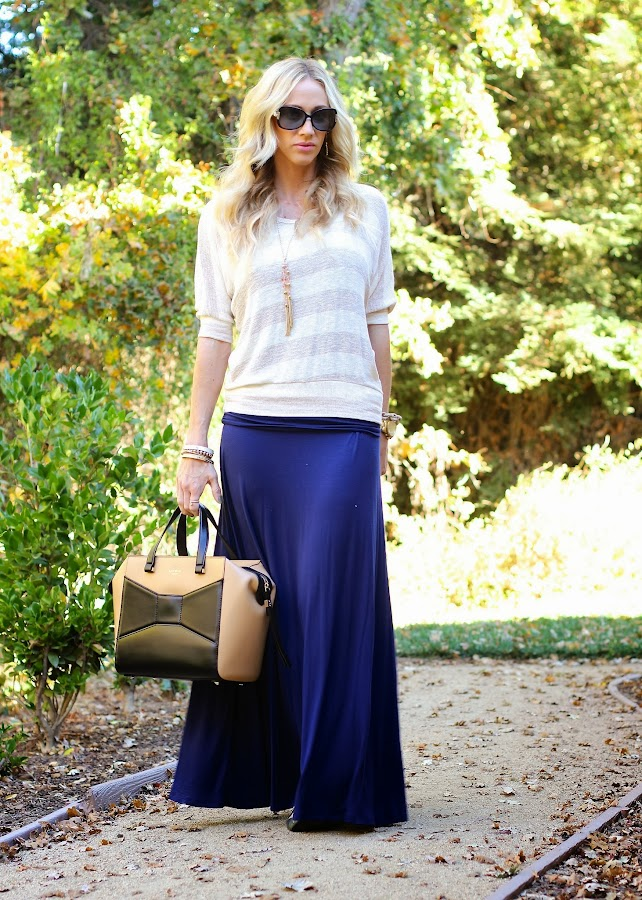 striped sweater maxi skirt