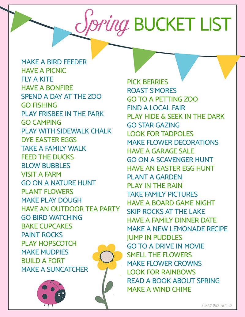 50 fun ideas for your spring bucket list free printable sunny