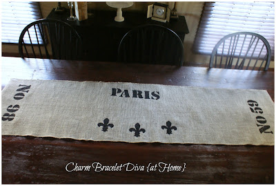French stencilled Paris burlap table runner