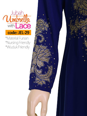 Jubah Umbrella Lace JEL-29 Blue Tangan 2