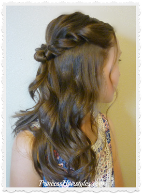 Pretty Prom hairstyle. Romantic twist half up.